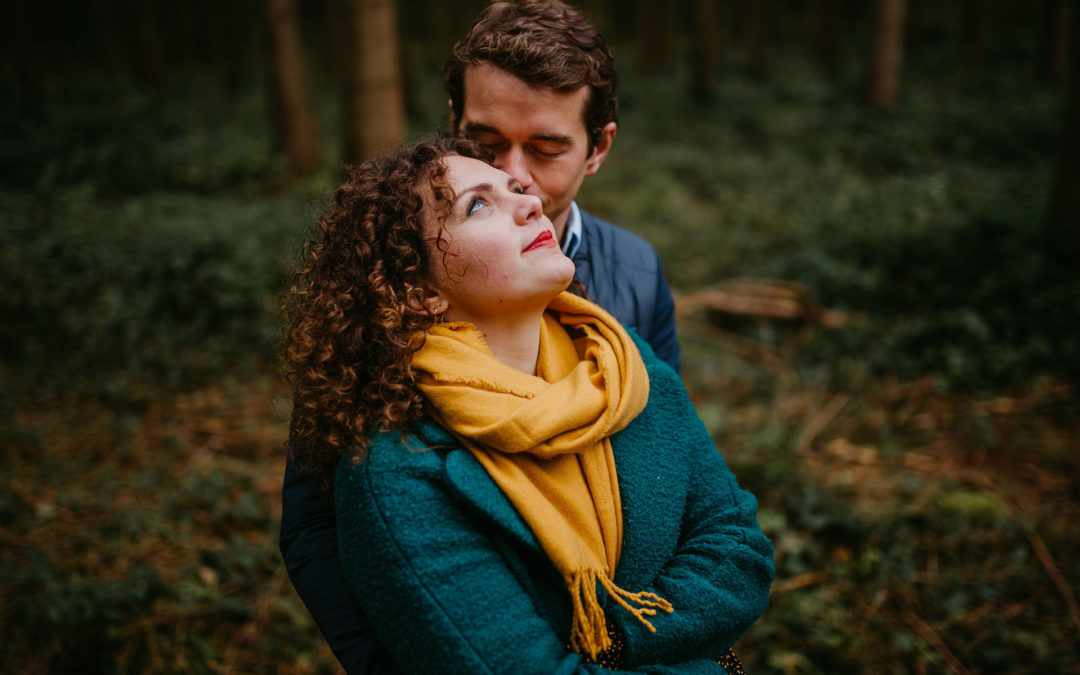 Mathilde and Antoine, a french couple session into the woods